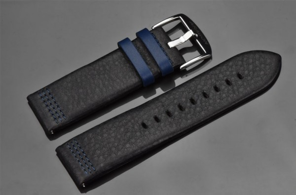 ARAGON Lederarmband 26mm Black-Blue