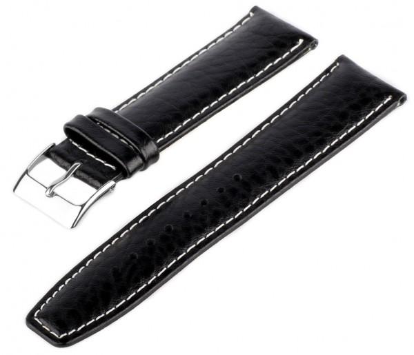Uhren Lederarmband MB10 Genarbt Schwarz-Weiß