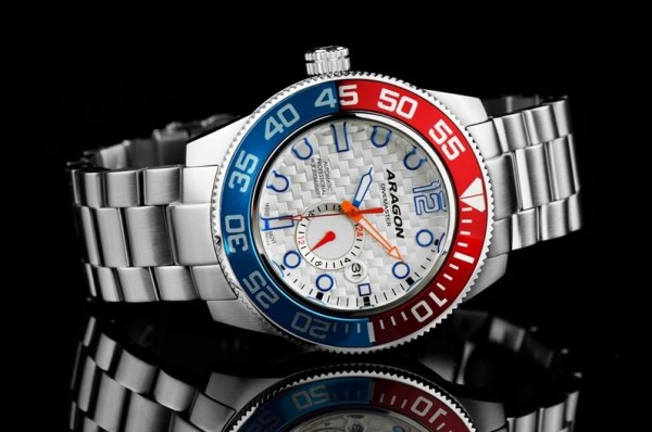 ARAGON Divemaster III 50mm White-Blue-Red Automatic Steel