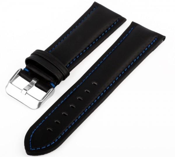 Uhren Lederarmband Schwarz-Blau LR-40