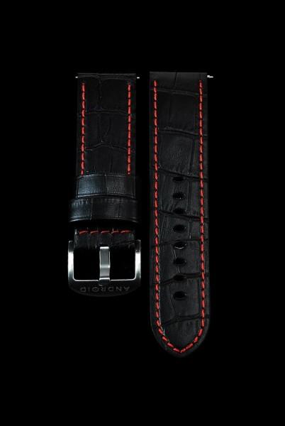 ANDROID Lederarmband 24mm Black-Red SCKR