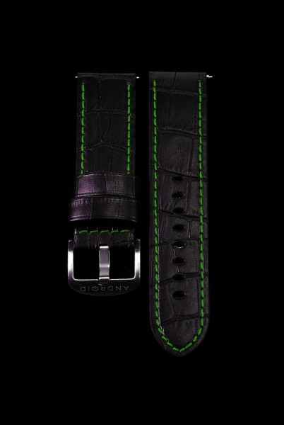 ANDROID Lederarmband 24mm Black-Grün SCGR