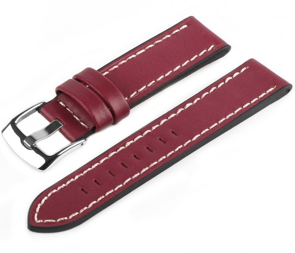 Uhren Lederarmband Burgund-Weiß PRO45 Glattleder