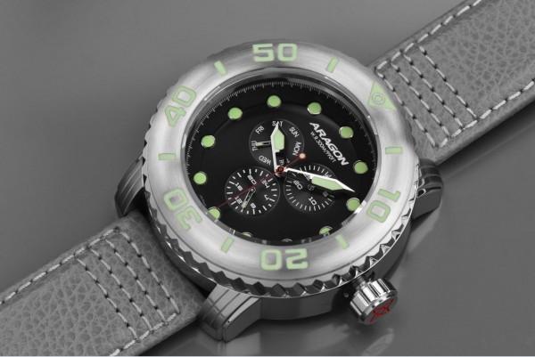 ARAGON Gauge Multifunction 55mm Black Leather