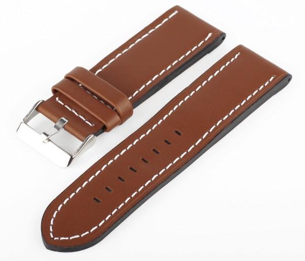 Uhren Lederarmband Hell-Braun-Weiß XXL MX17 Glattleder