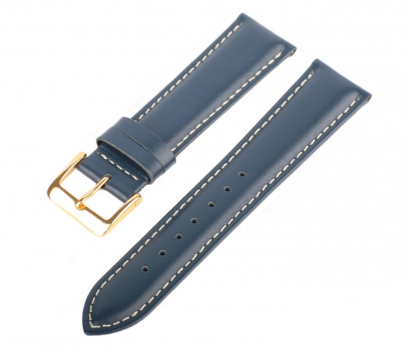 Lederarmband Blau-Weiß LLB-135 Glattleder Uhrenarmband Gold