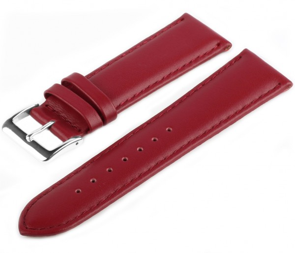 Uhren Lederarmband Rot LLB-40 Glattleder