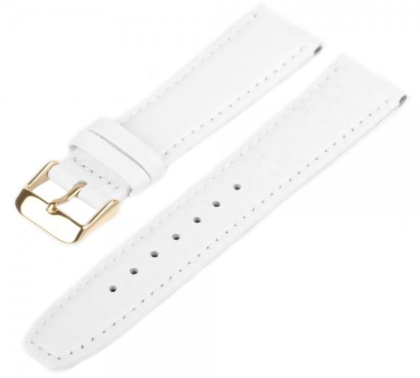 Uhren Lederarmband Gold Weiß WB50 Genarbt Gepolstert