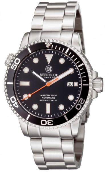 Deep Blue Master 1000 Black-Black-Orange Steel