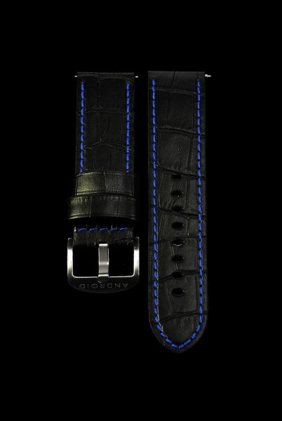 ANDROID Lederarmband 24mm Black-Blue SCKGBU