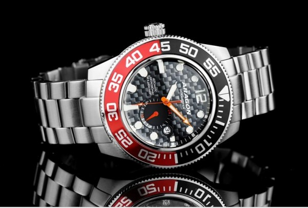 ARAGON Divemaster III 50mm Black-Red Automatic Steel