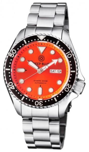 Deep Blue Nato Diver 300 Automatic Orange Steel