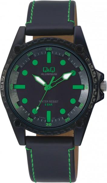 Q&Q Aluminum AL08J542Y Unisex Grün Armbanduhr