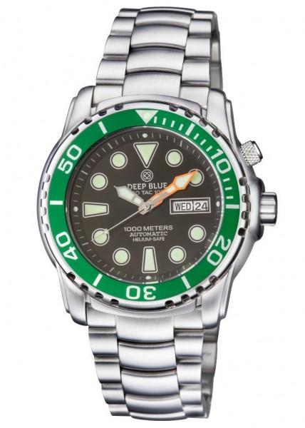 Deep Blue ProTac Diver 1000m Black-Green Automatic Steel