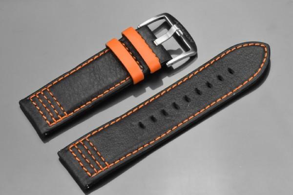 ARAGON Lederarmband 26mm Black-Orange