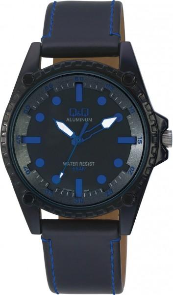 Q&Q Aluminum AL08J512Y Unisex Blau Armbanduhr