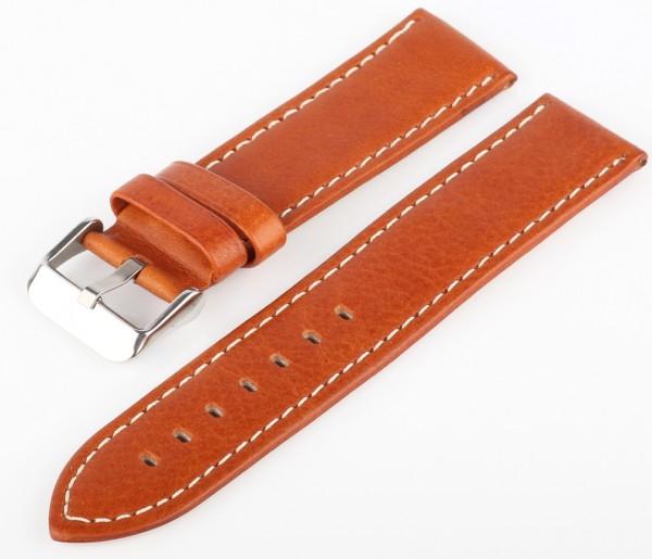 Uhren Lederarmband Braun-Weiss G75 Genarbt